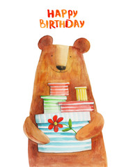 Bear with flower and boxes of gifts. Happy birthday. Watercolor illustration