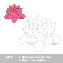 Lotus to be traced. Vector trace game.
