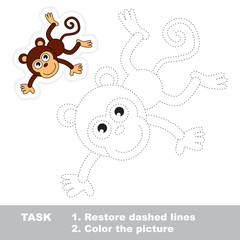 Monkey to be traced. Vector trace game.
