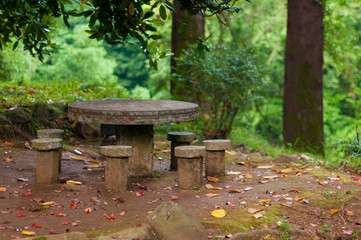 Beautiful view on a stone table and seats in the park