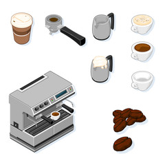 Isometric vector illustration Icon set for Coffee.