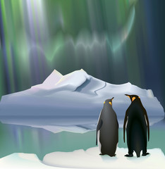 Penguins/Penguins - travelers on the background of the iceberg and the Aurora