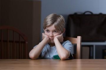 Abandoned boy feeling depressed