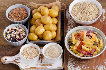 Healthy Food: Best Sources of Carbs on a wooden board.