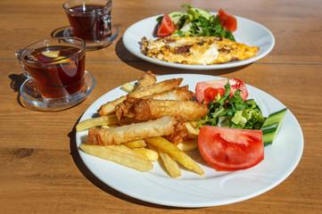 Turkish breakfast with borek