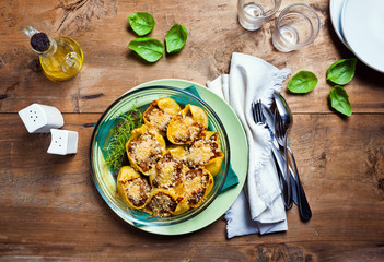 Baked pasta with cheese and lentils. Healthy Italian traditional