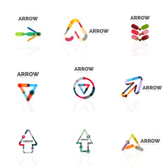 Set of linear arrow abstract logos, connected multicolored segments lines in directional pointer figures