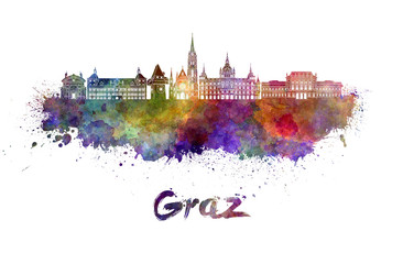 Wall Mural - Graz skyline in watercolor