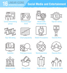 Miscellaneous social media and entertainment vector thin line ic
