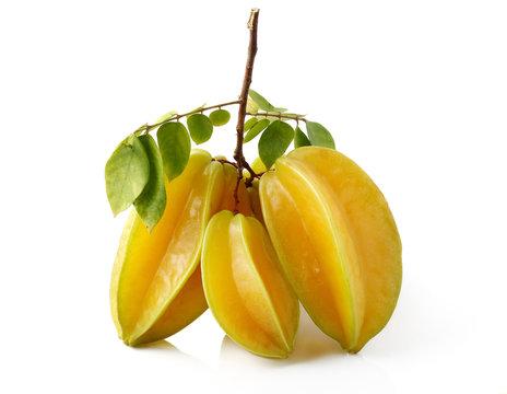 carambolas - starfruits isolated on white background