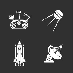 four stylish space icons