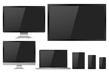 Set of realistic TV, lcd, led, computer monitor, laptop, tablet and mobile phone with empty screen. Various modern electronic gadget isolated on white background. Vector illustration EPS10