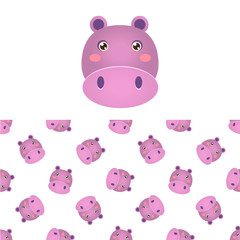 Hippo Head Icon And Pattern