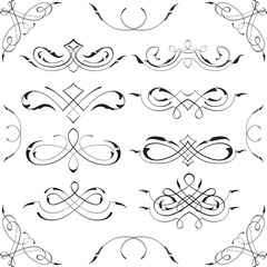 Retro swirl design elements set