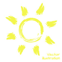 The sun painted with a brush. Vector illustration