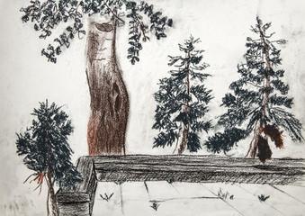 """Детский рисунок пастелью """"Пейзаж с деревьями"""""""