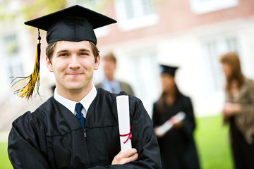 Graduation: Cheerful Graduate with Diploma