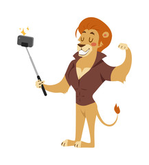 Selfie photo shot lion young power strong man illustration on white background