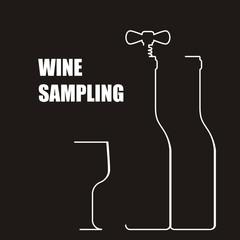 Wine bottle with corkscrew - wine sampling