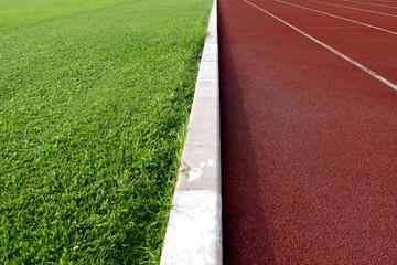 Fototapeta premium biała linia między boiskiem piłkarskim zielonej trawy a drogą startową
