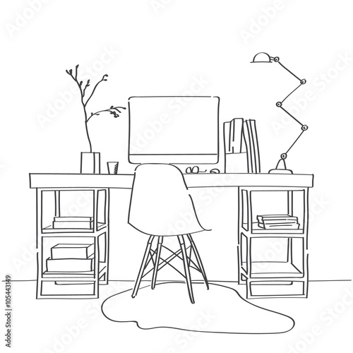 Hand drawn sketch of modern workspace with work table for Table design sketch
