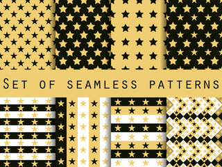 Seamless pattern with stars. A set of patterns. The pattern for wallpaper, bed linen, tiles, fabrics, backgrounds. Vector illustration.