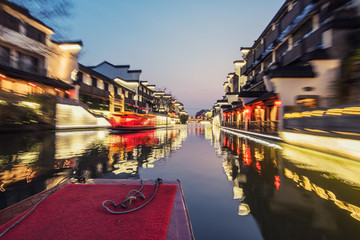 view of qinhuai river from a boat at night,Nanjing, China