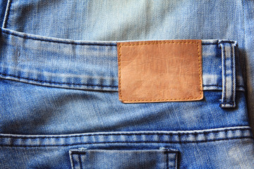 Blue jeans with leather label