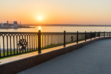 The fence on the embankment of the Izhevsk pond