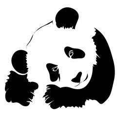 Outline panda vector illustration. Can be use for logo or tattoo