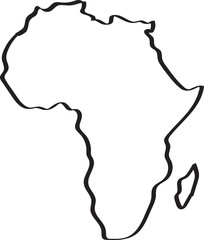 Freehand sketch Africa map on white background. Vector illustration.