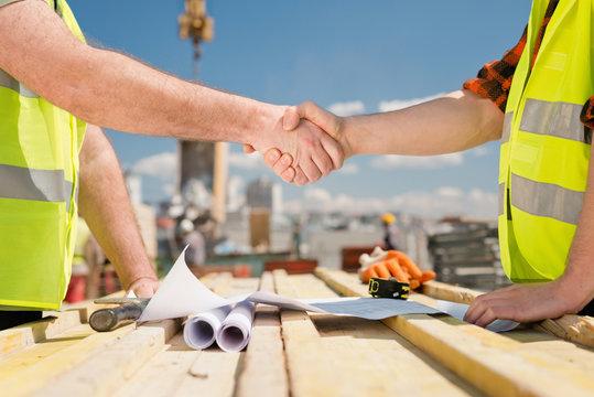 Construction deal handshake