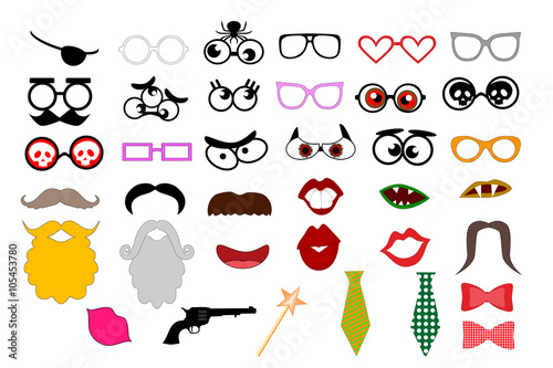 Photo booth props template for party. Elements for party props ...