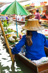 Traditional floating market in Damnoen Saduak near Bangkok. Thai
