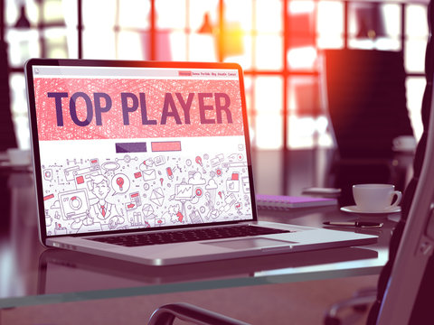 Top Player Concept - Closeup on Landing Page of Laptop Screen in Modern Office Workplace. Toned Image with Selective Focus. 3D Render.