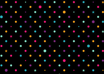 Colorful Dots Black Background Vector Illustration