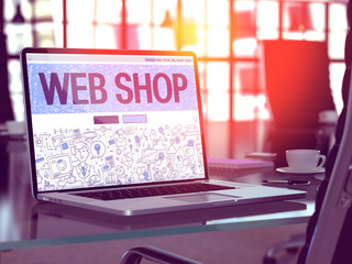 Web Shop Concept - Closeup on Landing Page of Laptop Screen in Modern Office Workplace. Toned Image with Selective Focus. 3D Render.