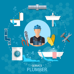 Professional plumber plumbing repair service different tools