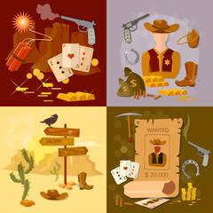 Wild west cowboy set western sheriff bandit
