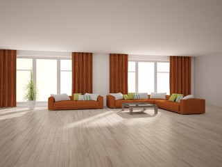 bright interior design of living room with colored furniture - 3d illustration