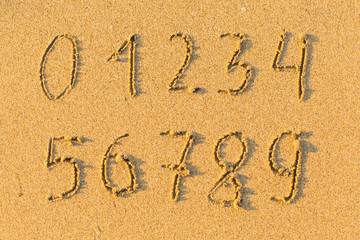 Digits from zero to nine, drawn on the sand beach.