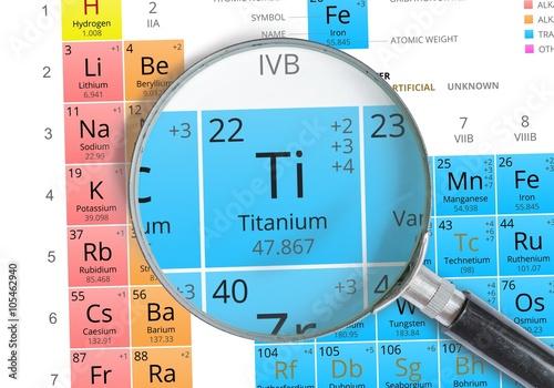 Titanium symbol ti element of the periodic table zoomed with titanium symbol ti element of the periodic table zoomed with mignifier urtaz Gallery