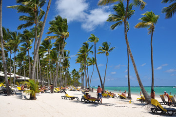 Beach with tourists in the Dominican Republic