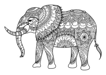 Mandala elephant line art design for coloring book for adult and other decorations