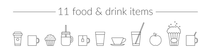 Vector Thin Line Icons Food & Drink