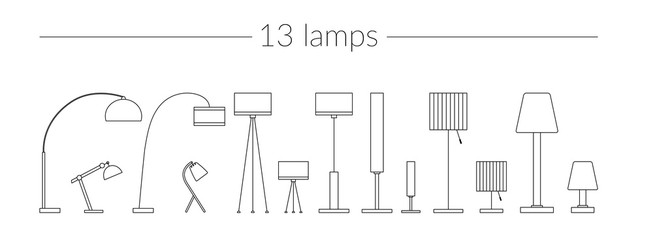 Vector Thin Line Icon Set Lamps