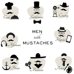 Different mustaches - vector illustration.