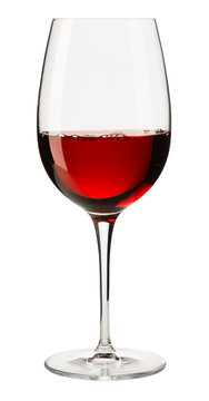 Glass of Red Wine on White