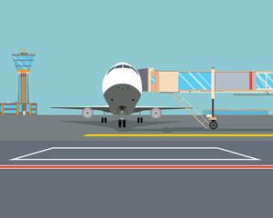 Airplane is waiting for passengers near the modern airport terminal. Vector illustration
