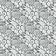 Floral background in vector for coloring book page or textile design. Seamless pattern